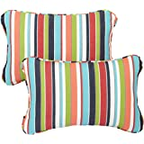 Mozaic Corded Indoor/Outdoor Lumbar Throw Pillows, 13 by 20-Inch, Colorful Stripe, Set of 2