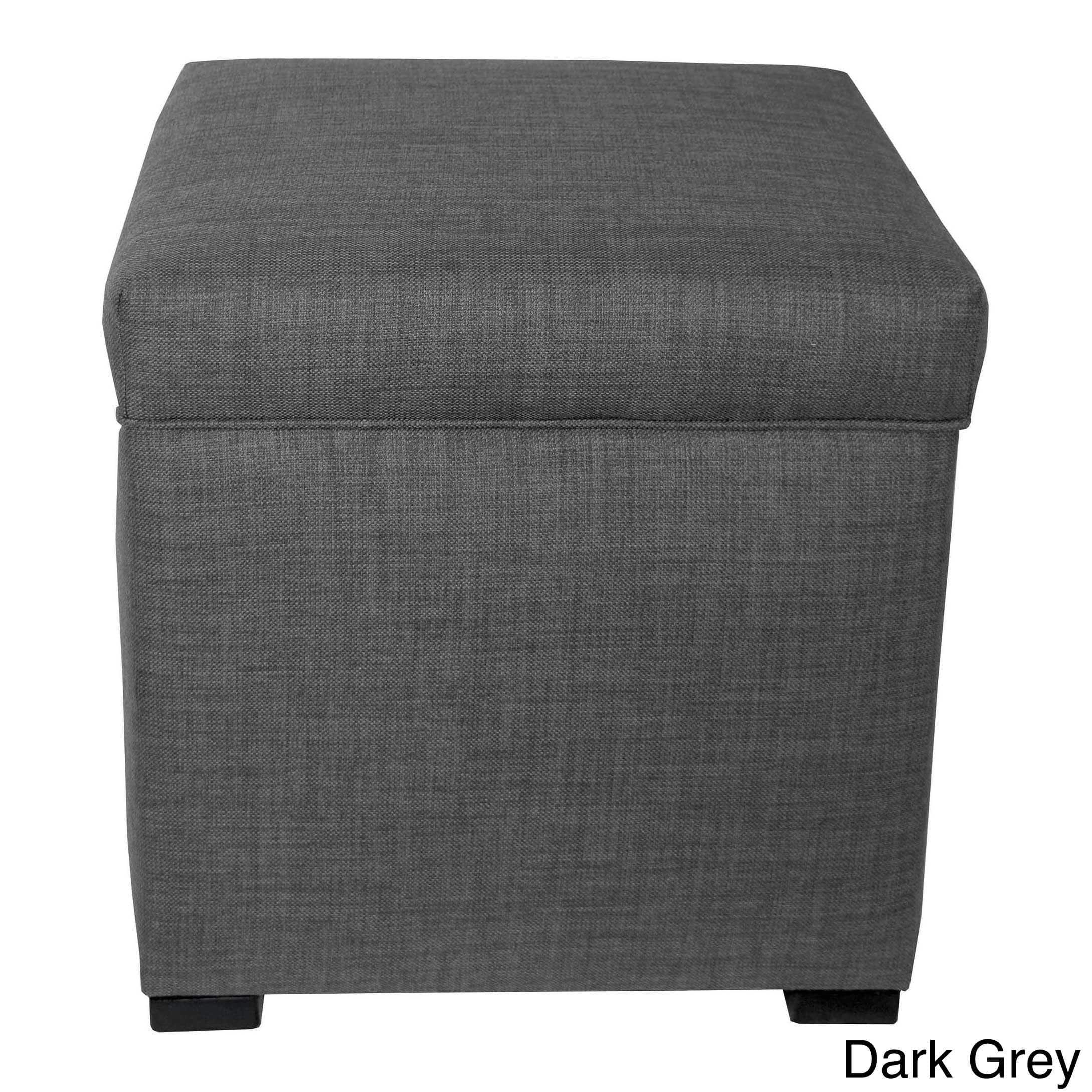 The Sole Secret Mini Shoe Storage Ottoman, 18.5''L x 19''H x 19''W, Dark Grey