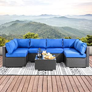Walsunny Outdoor Furniture Patio Sets,Low Back All-Weather Small Rattan Sectional Sofa with Tea Table&Washable Couch Cushions&Upgrade Wicker(Black Rattan) (Navy Blue)