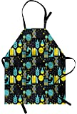 Ambesonne Education Apron, Science Class Themed Biology Chemistry and Physics Protons Neutrons, Unisex Kitchen Bib Apron with Adjustable Neck for Cooking Baking Gardening, Turquoise Yellow Black