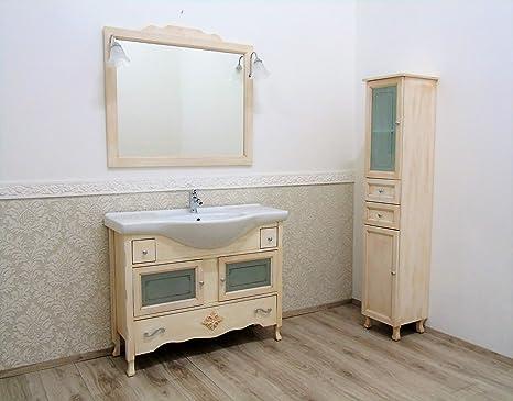 Le chic mobile da bagno con lavabo avorio decape colonna shabby