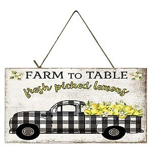 Twisted R Design Vintage Truck Sign (Black Buffalo Check Lemon Truck)