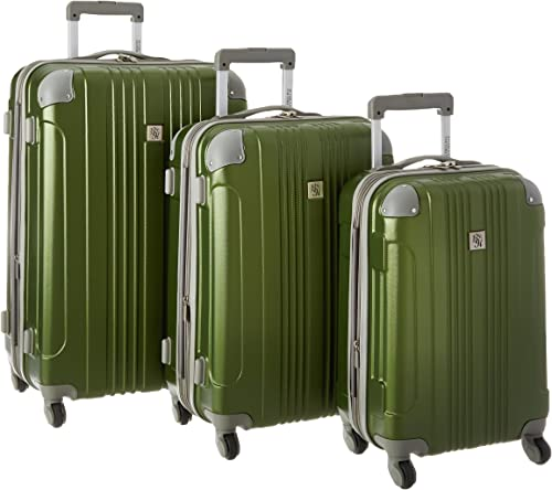 Beverly Hills Country Club Newport 3-piece Hardside Spinner Luggage Set, Green, 3-Piece Set