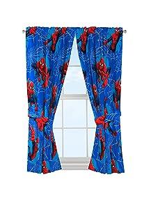 "Jay Franco Marvel Spiderman 'Astonish' 42"" x 63"" Curtain Panel Pair with Tie Backs Drape Set, 63 Inch"