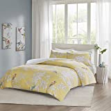 URBAN HABITAT Garden Birds Printed Duvet Cover and Pillowcase Set, 100% Breathable Cotton, Trendy Quilt Bedding Set (King, Yellow)
