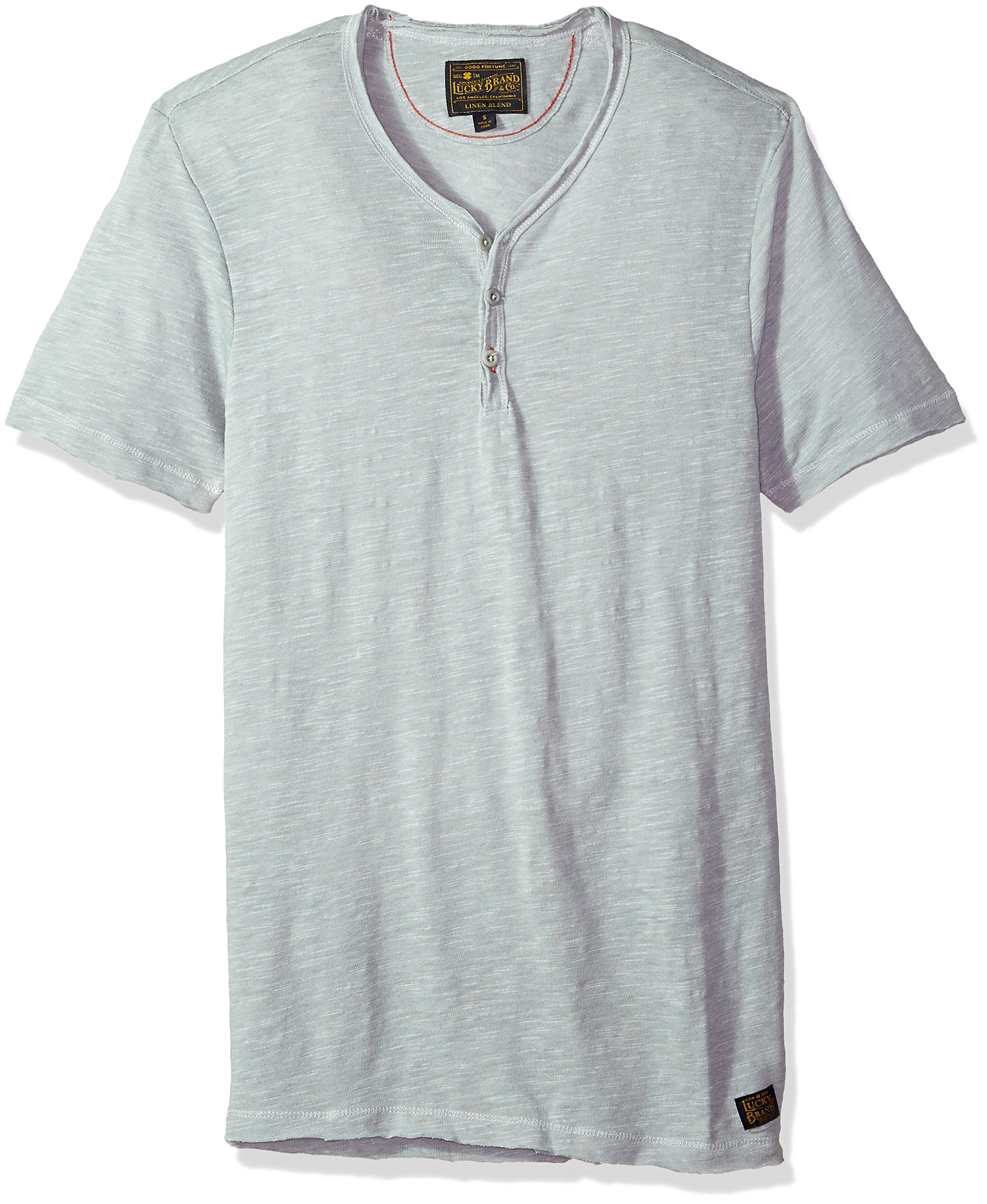 Lucky Brand Men's Raw Edge Y Neck Henley Shirt, Quary, M