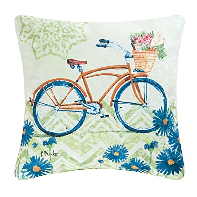 C&F Home Bicycle Pillow Indoor/Outdoor 18x18 Square: Home & Kitchen