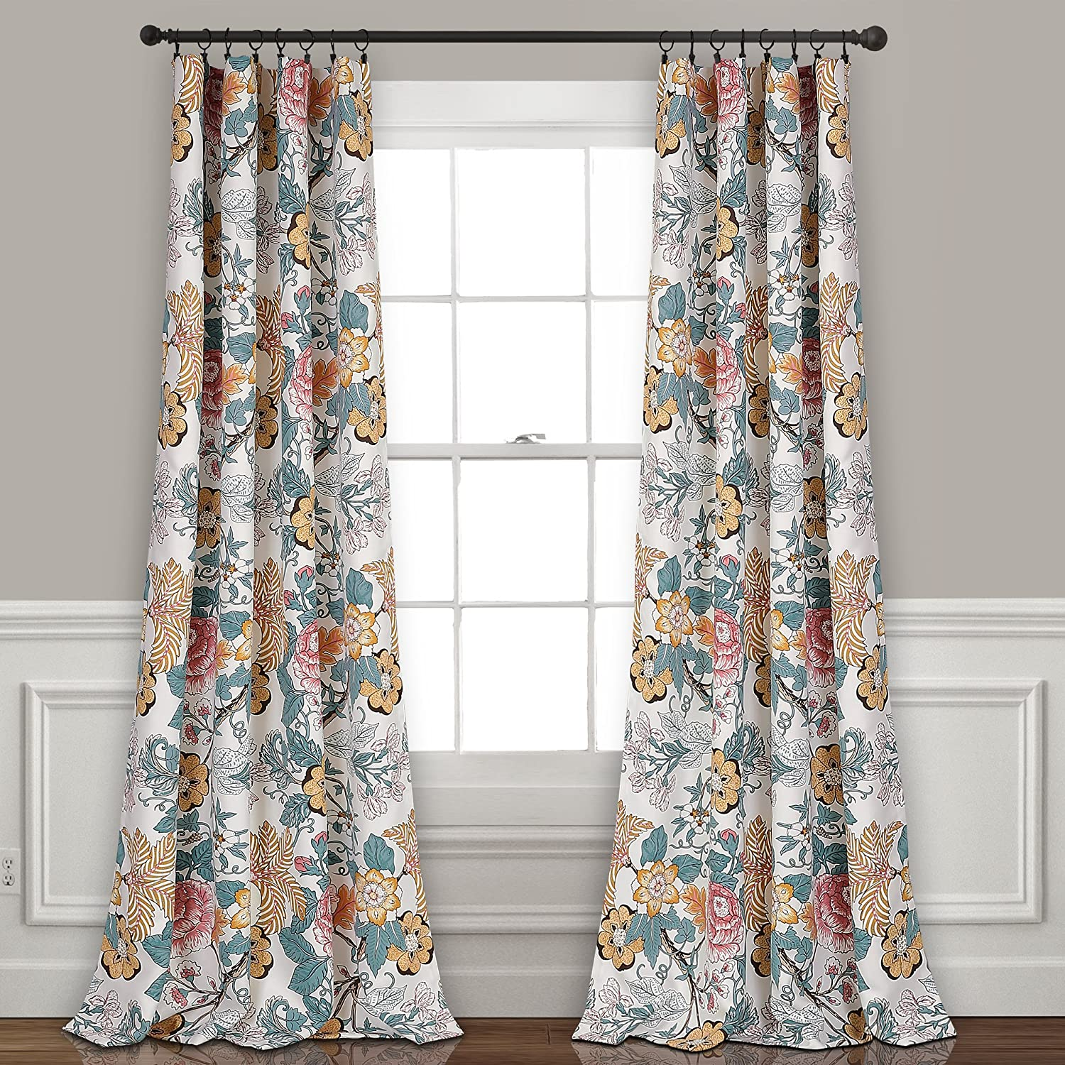 "Lush Decor Sydney Curtains | Floral Garden Room Darkening Window Panel Set for Living, Dining, Bedroom (Pair), 84"" x 52"", Blue and Yellow, 84"" x 52"", Blue & Yellow"
