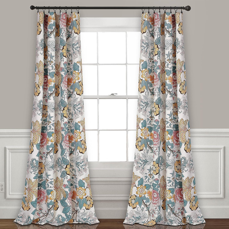 "Lush Decor Sydney Room Darkening Window Curtain Panel Pair, 95"" x 52"", Blue & Yellow, 95"" L"