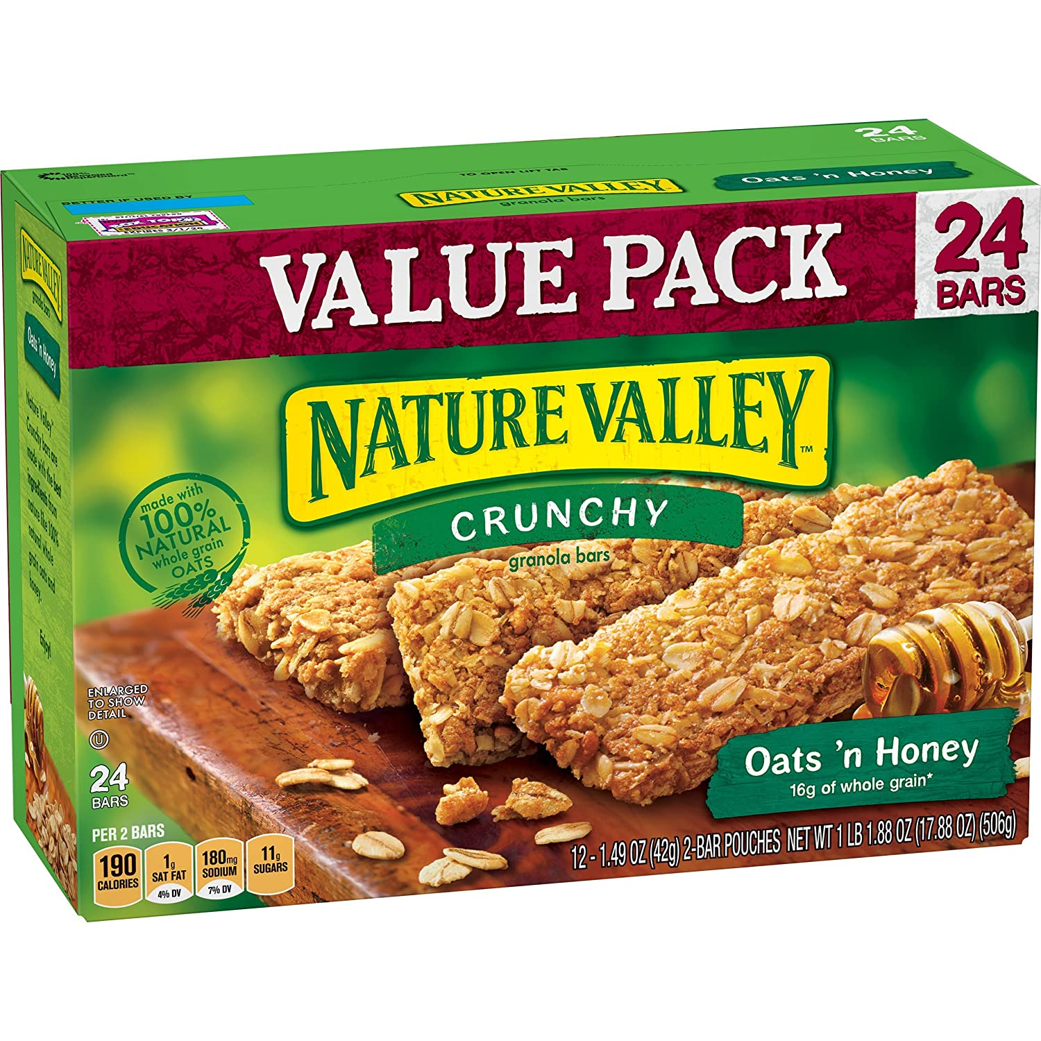 Nature Valley Granola Bars, Crunchy, Oats 'n Honey, 17.88 Ounce
