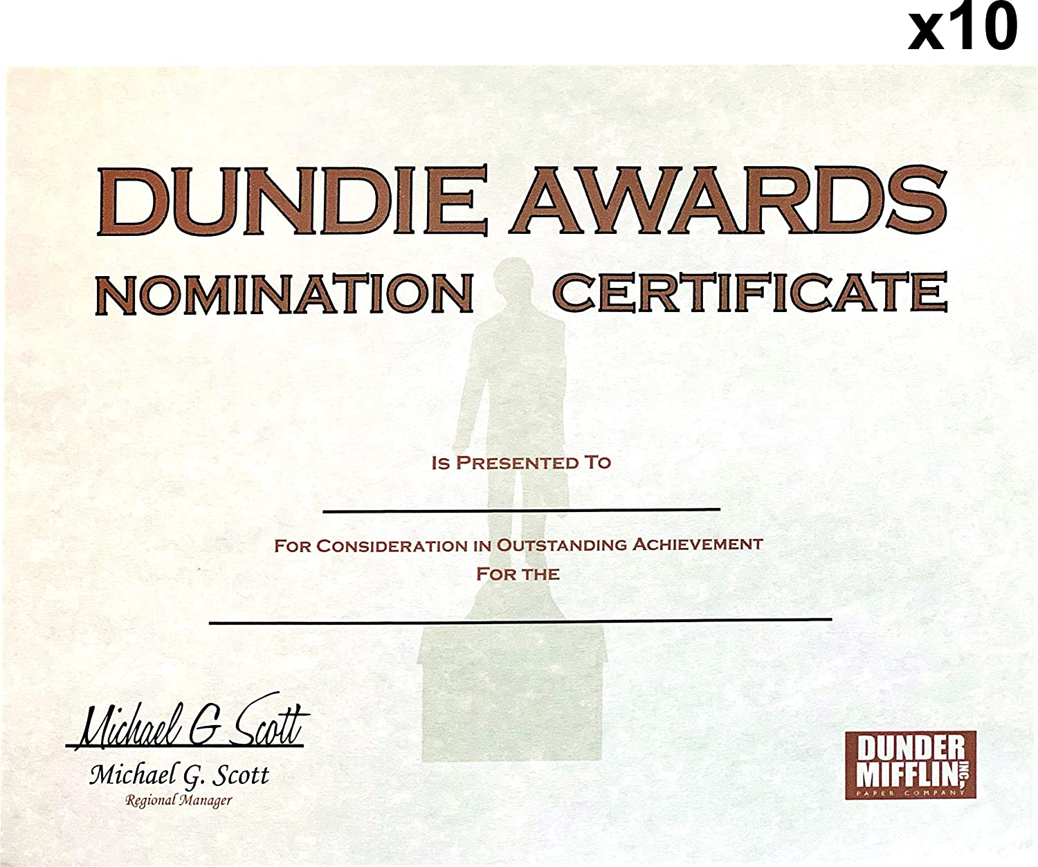 Dundie Award Nomination Certificates (10), Customizable