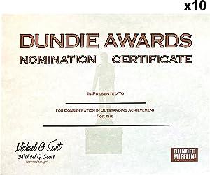 Dundie Award Nomination Certificates (10), Customizable