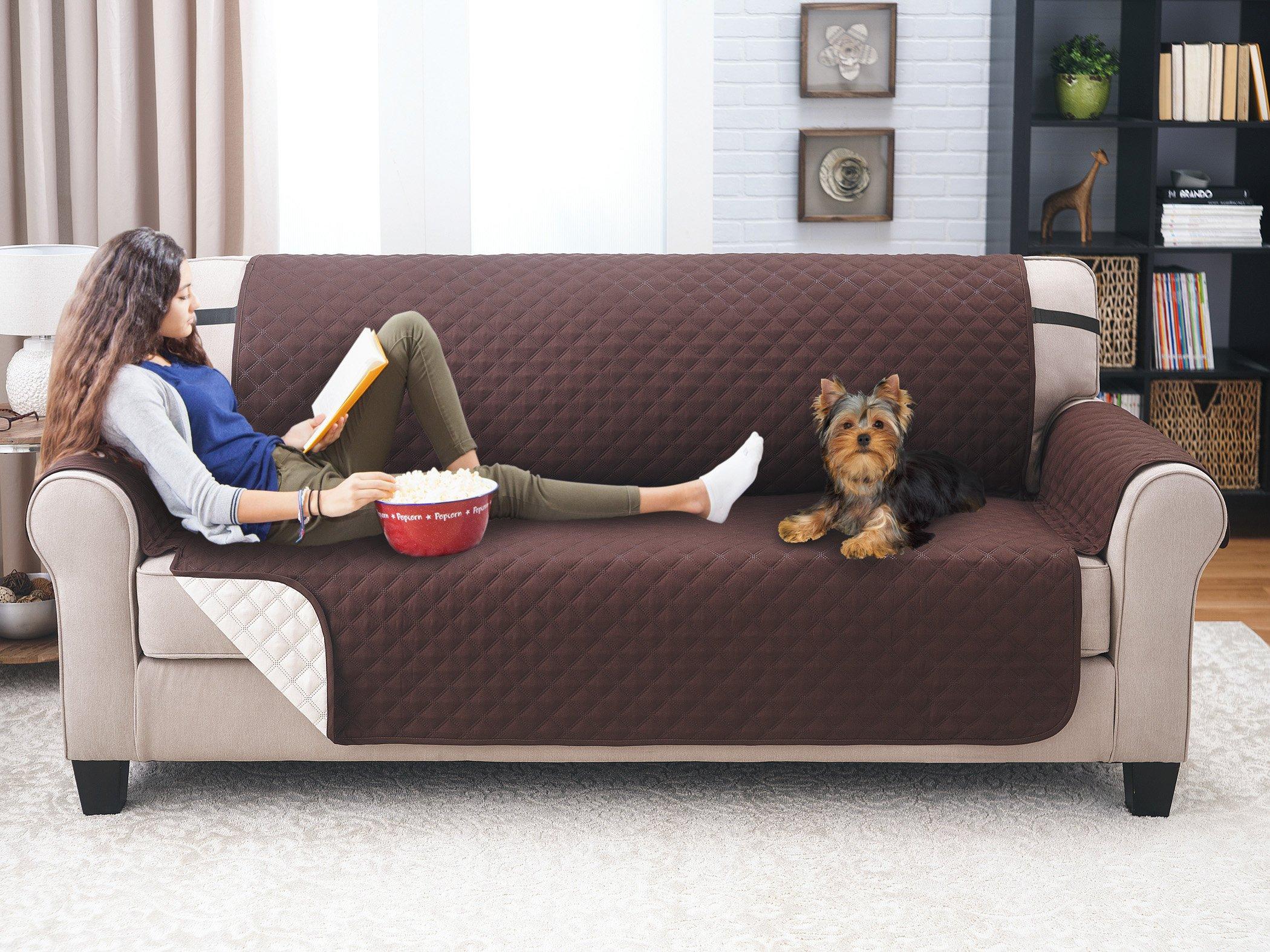 Elaine Karen Deluxe Reversible Sofa Furniture Protector, Coffee/Tan