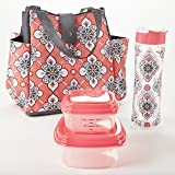 Fit & Fresh Westport Insulated Lunch Bag Kit for Women with Reusable Container Set and Matching 20-oz. Tritan Water Bottle, Coral Paisley