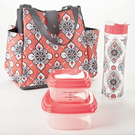 82f357986de5 Fit & Fresh Westport Insulated Lunch Bag Kit for Women with Reusable  Container Set and Matching 20-oz. Tritan Water Bottle, Coral Paisley