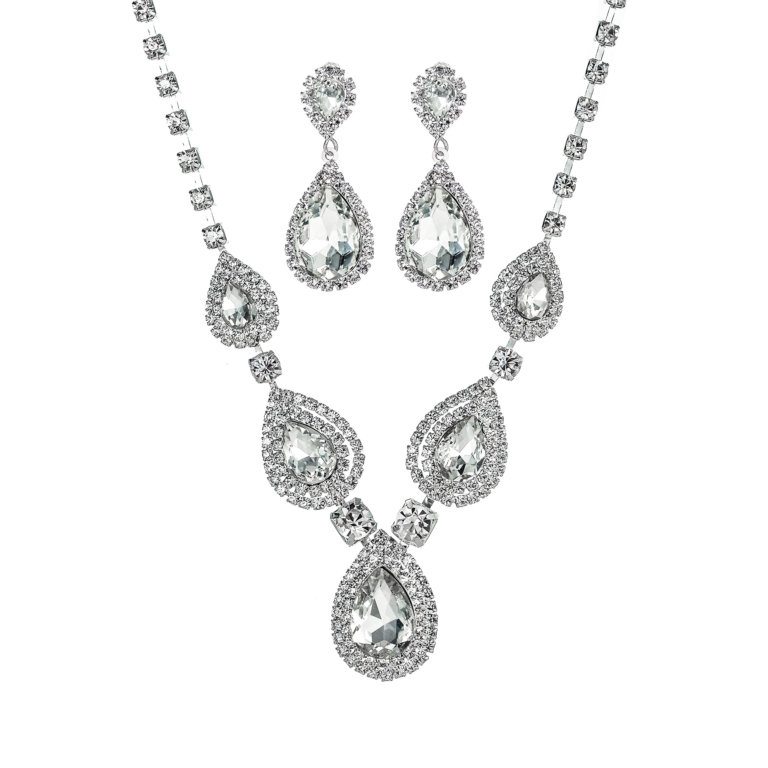 Miraculous Garden Teardrop Crystal Rhinestone Necklace Earrings Jewelry Sets for Wedding (White)