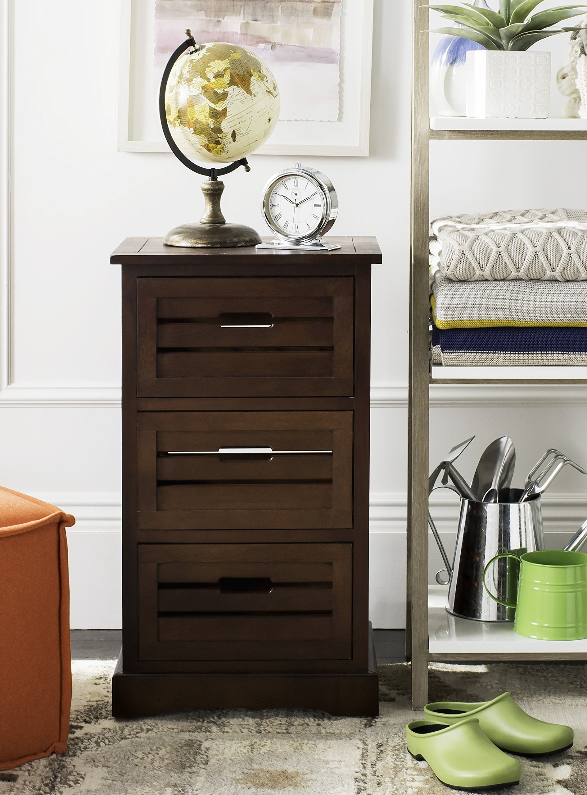 Safavieh American Homes Collection Samara 3-Drawer Cabinet, Cherry