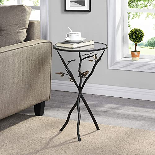 FirsTime Co. Aged Bronze Bird and Branches Tripod Side Glass Tabletop Accent Table, 24 H x 14 W x 14 D