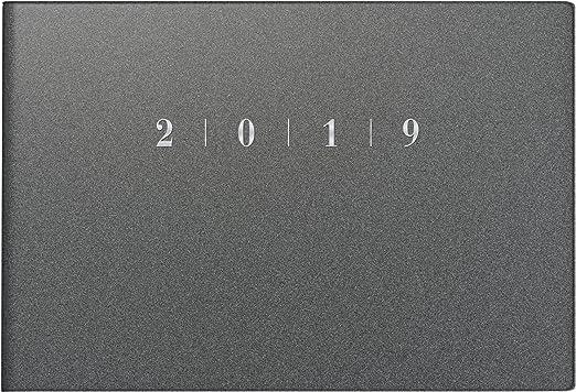 rido/idé 701756380 Taschenkalender Septimus, 2 Seite = 1 Woche, 152 x 102 mm, Kunststoff-Einband Reflection grau, Kalendarium  2019