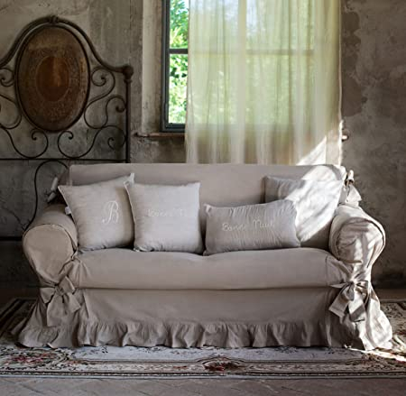 2 Seater Sofa Cover With Ruffle And Bows Romantic Shabby