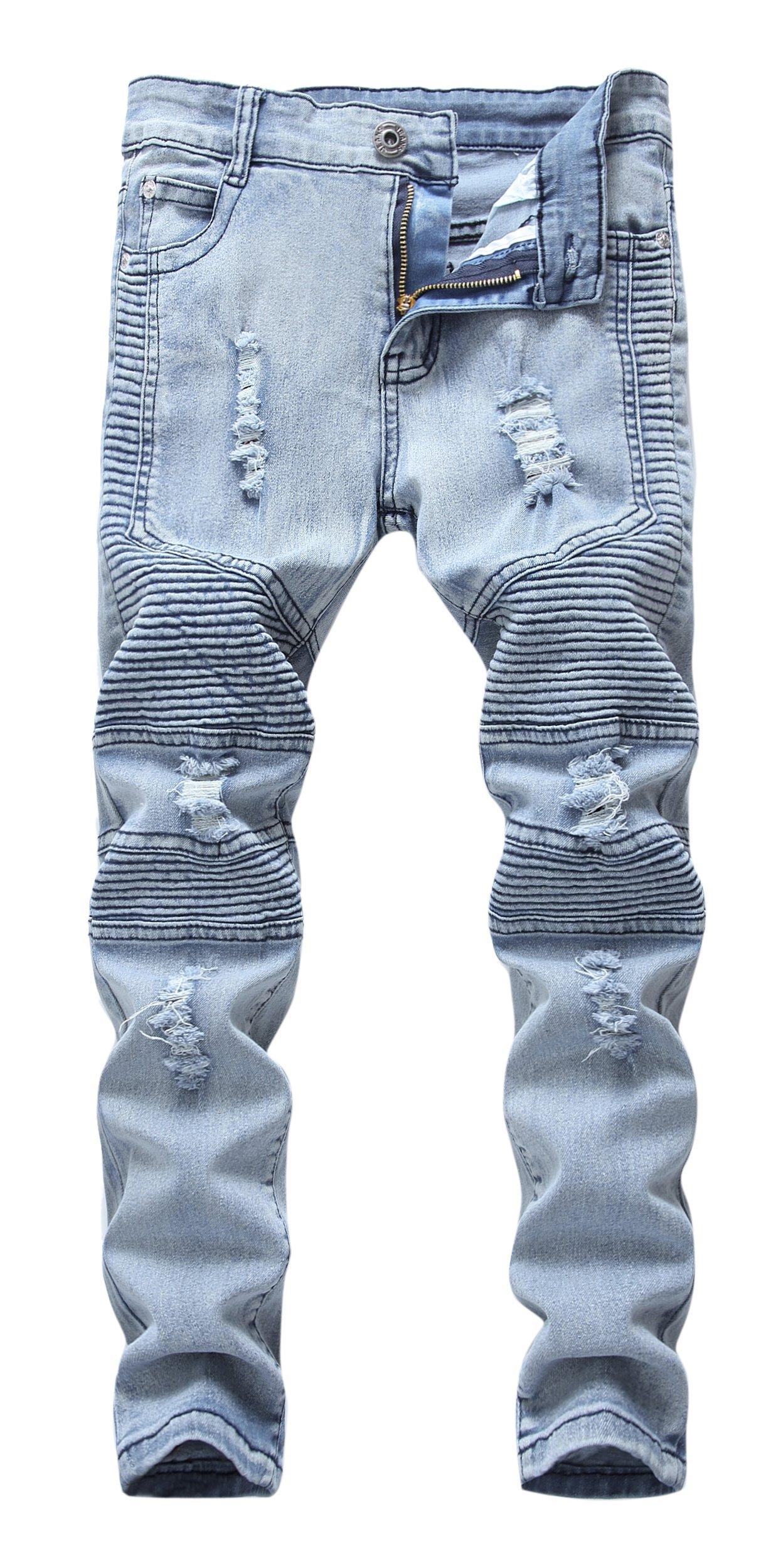 FREDD MARSHALL Boys Stylish Moto Biker Skinny Ripped Wrinkled Stretch Fit Light Blue Denim Jeans,Light Blue,12