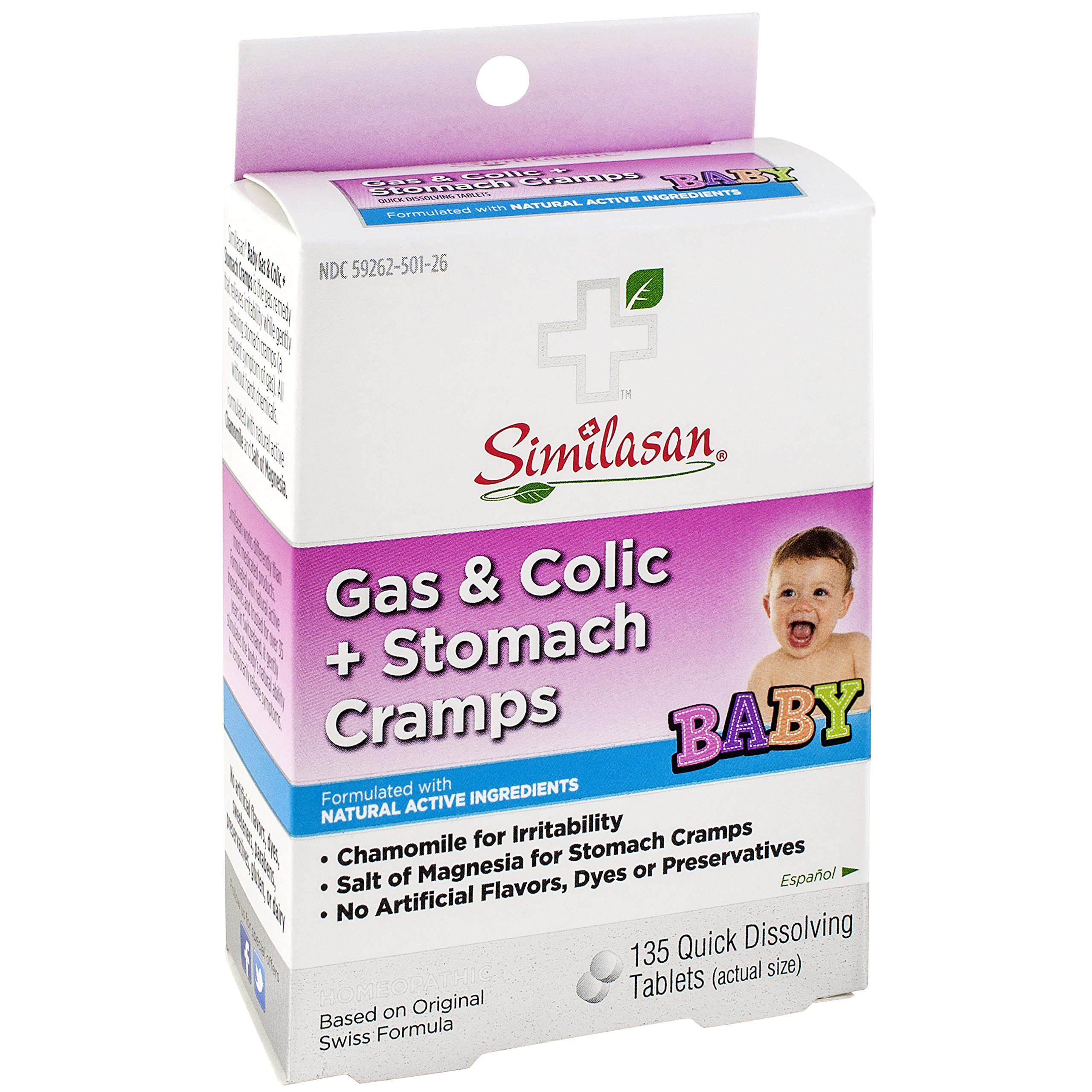 Similasan Gas and Colic Plus Stomach Cramps Quick Dissolving Tablets, 135 Count (Pack of 24)