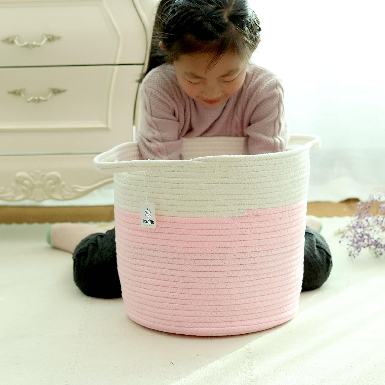 Iceblue 11.8X13Cotton Rope Nursery Basket Storage Basket Stuff Basket Kids Laundry Basket Home Decoration