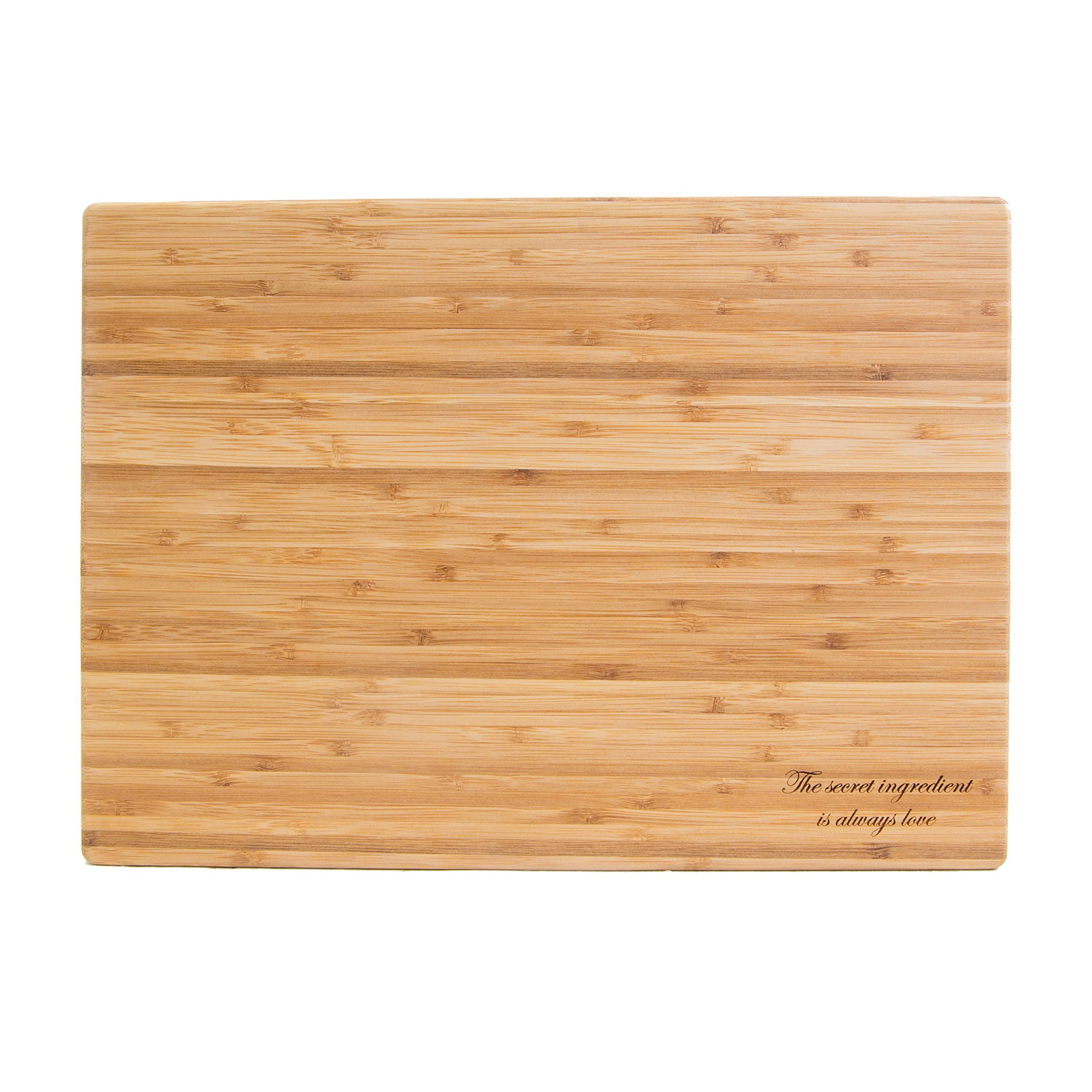 The secret ingredient is always love - Engraved premium quality bamboo cutting board - PERFECT Mother's Day, Engagement, Wedding, Housewarming, Birthday, Small Appliance Gift or Decor - Made in USA