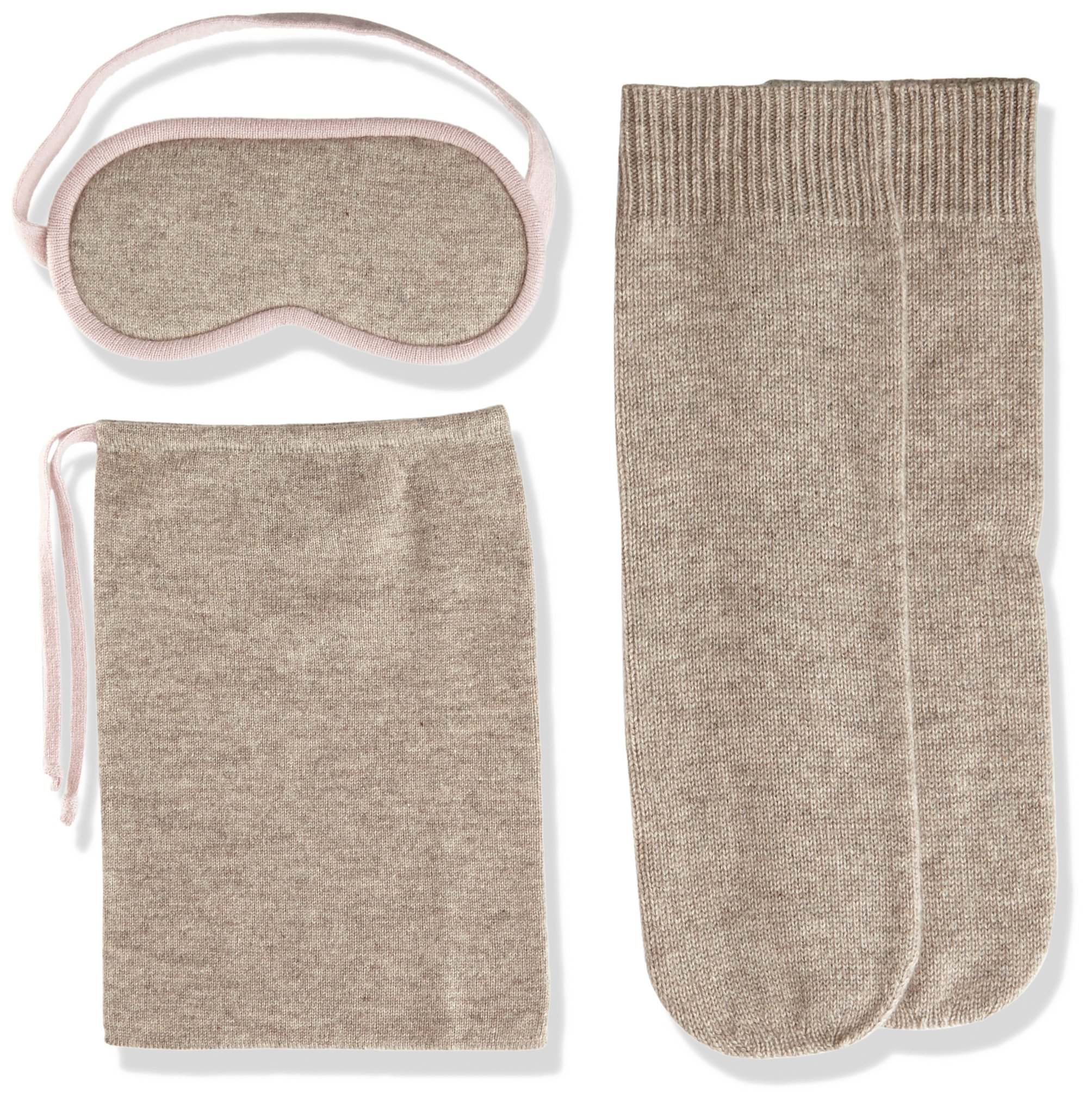 Sofia Cashmere Women's Cashmere Travel Set-Eyemask and Socks, Taos ZY32199 + Rose Dust ZY42288, One