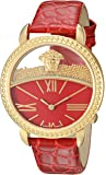 Versace Women's 'KRIOS' Swiss Quartz Stainless Steel and Leather Casual Watch, Color:Red (Model: VAS040016)