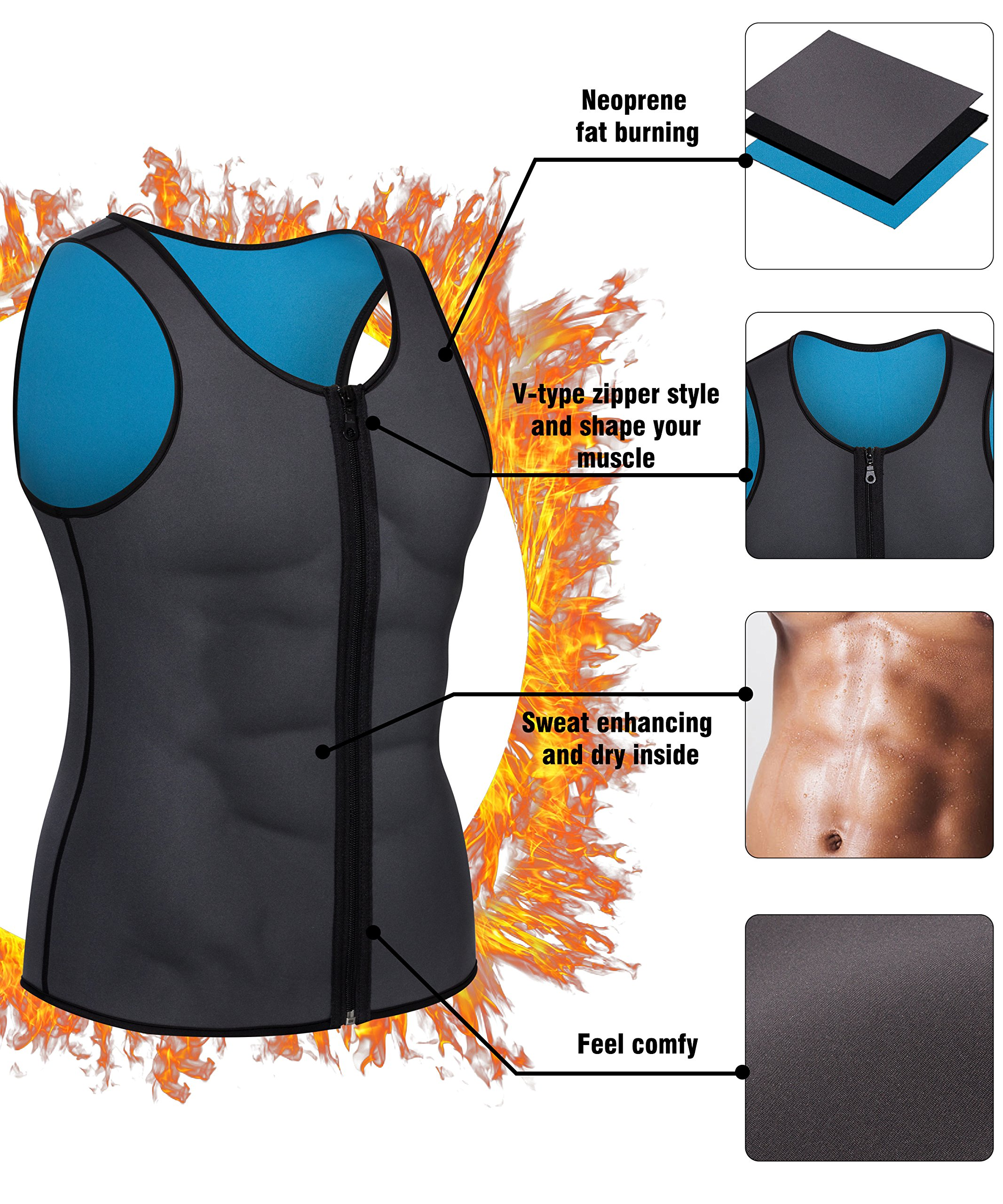 a23112af2bf995 Men Waist Trainer Vest for Weightloss Hot Neoprene Corset Body Shaper  Zipper Sauna Tank Top Workout Shirt (L