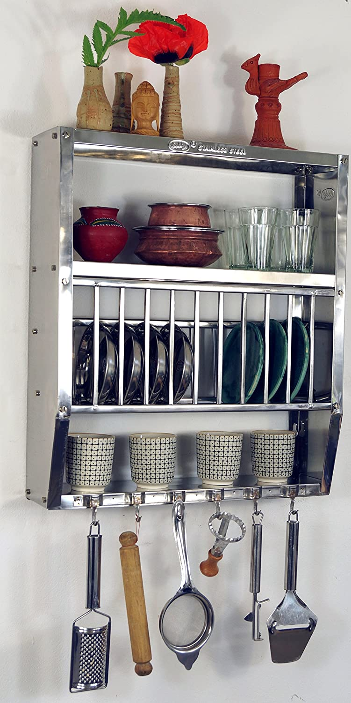 8 Tazas 7 Platillos Guru-Shop Estante de Cocina de Acero Inoxidable Estante de Pared Mini-cocina con Estante Para 13 Platos 75x58x20 cm Aceroinoxidable Estantes Para Vino Estantes Peque/ños