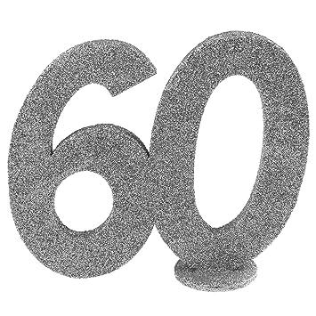 Cama24com Xxl Tischdeko Zahl 60 Geburtstag Silber Glitzer 1 Stuck