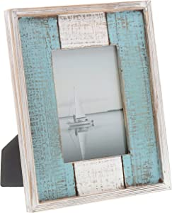 "Barnyard Designs Rustic Distressed Picture Frame, 5"" x 7"" Wood Photo Frame in White and Turquoise"