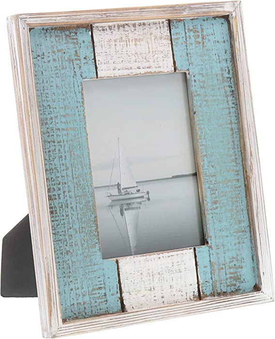 """Barnyard Designs Rustic Distressed Picture Frame, 5"""" x 7"""" Wood Photo Frame in White and Turquoise"""