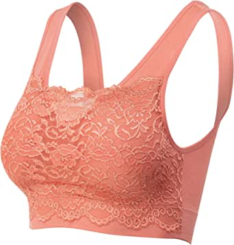 urbandaizy Women's Seamless Lace Bra Top with Front Lace Cover Sports Bra, 6632_deep Coral, Large/X-Large