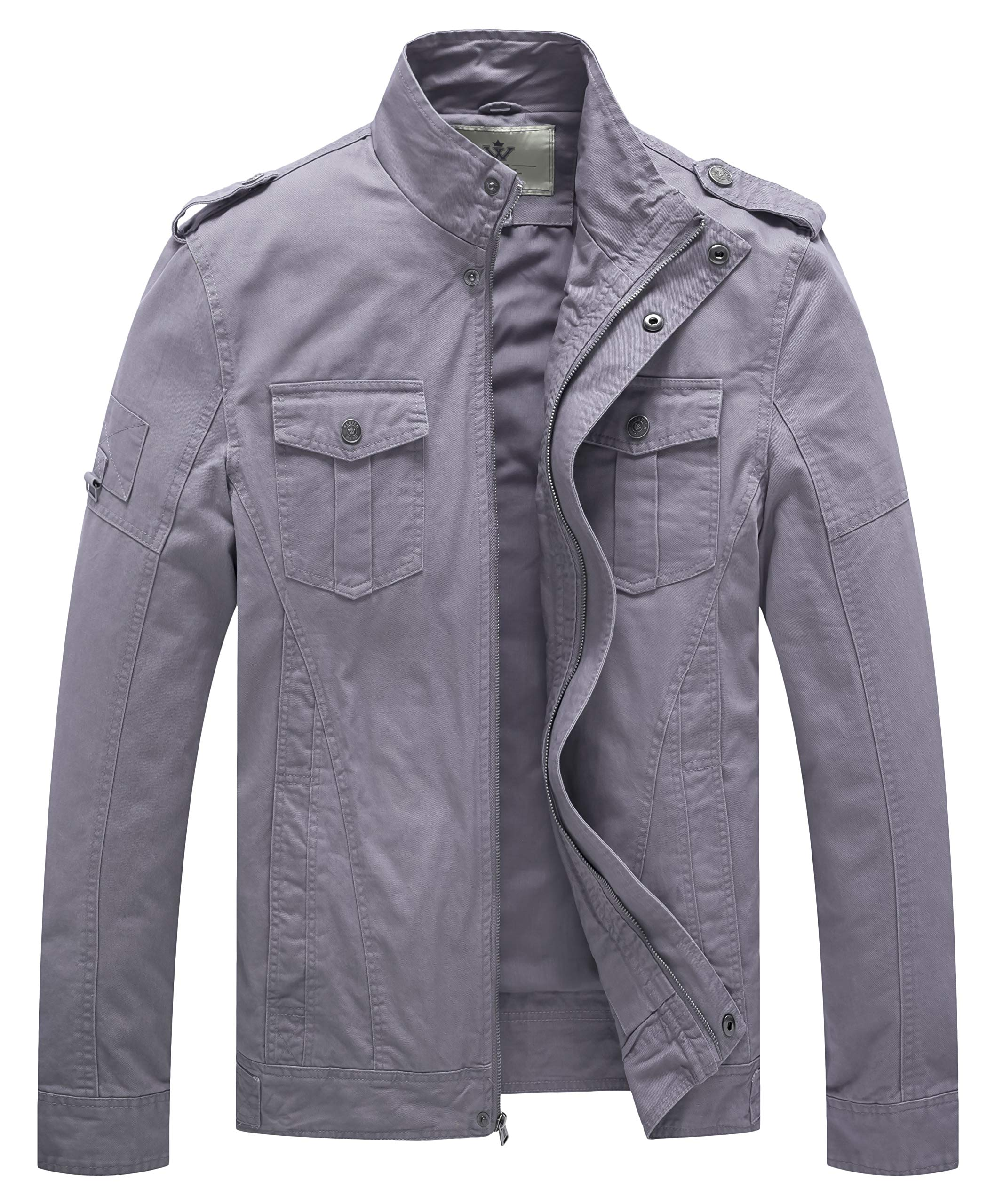 WenVen Men's Casual Cotton Military Jacket(Light Grey,M) by WenVen