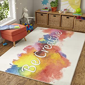 Mohawk Home Z0368 A416 060096 EC Prismatic Be Be Creative Rainbow Watercolor Printed Contemporary Kids Area Rug, 5'x8', Be