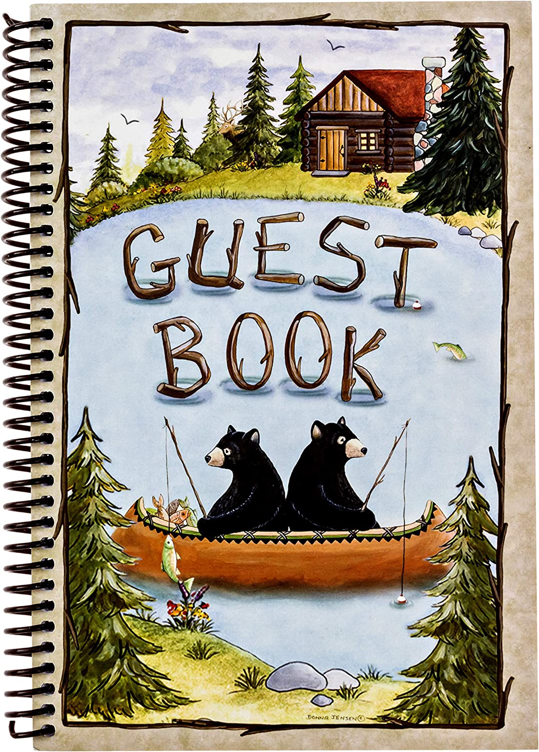 Hotel Guest Book Log Registry - Camping Bear Lake Farmhouse Guest Signing Paperback 6x9