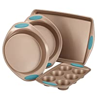 Deals on Rachael Ray Cucina 4-Pc. Agave Blue Nonstick Bakeware Set