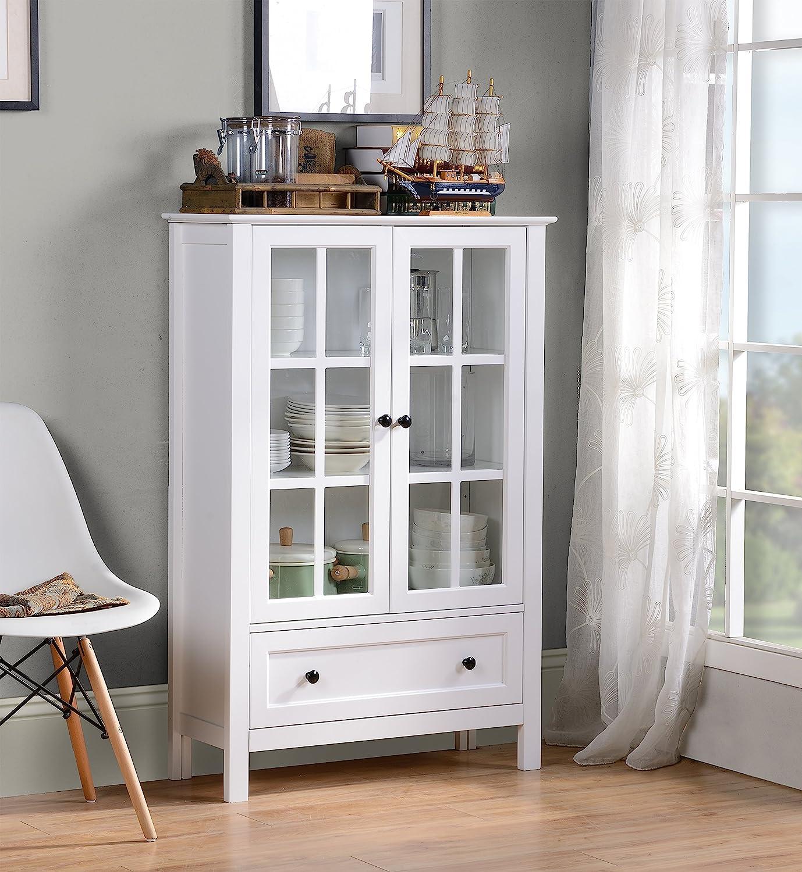 HOMESTAR Miranda Caninet with 2-Doors & 1-Drawer Glass, White