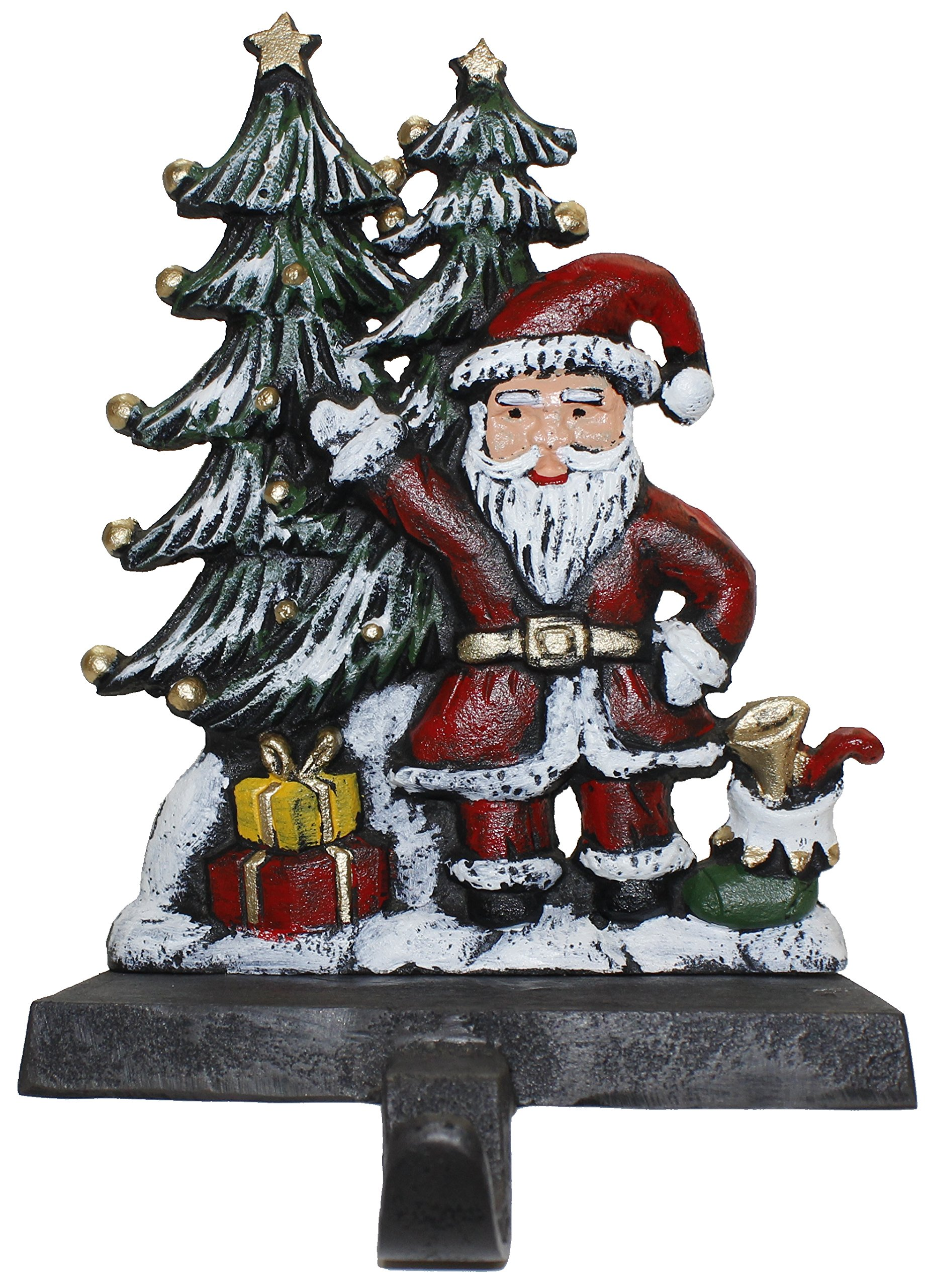 Lulu Decor, Cast Iron Christmas Stocking Holder, Set of 4 hooks, Sleigh with deer, Santa with gifts, House with kids & Snowman with christmas tree (House) by LuLu (Image #4)