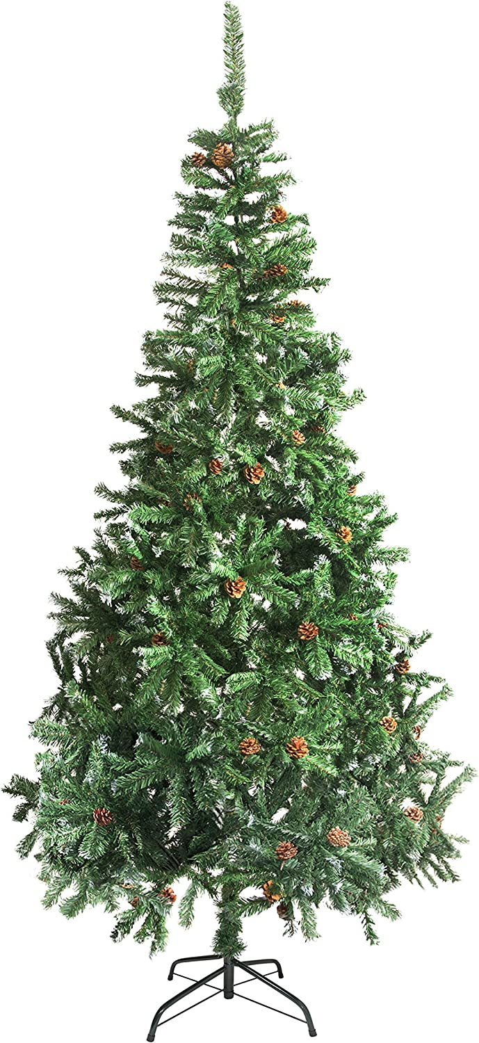 ALEKO CTPC106H17 Artificial Holiday Christmas Tree Premium Pine with Stand and Pine Cones 9 Foot Green