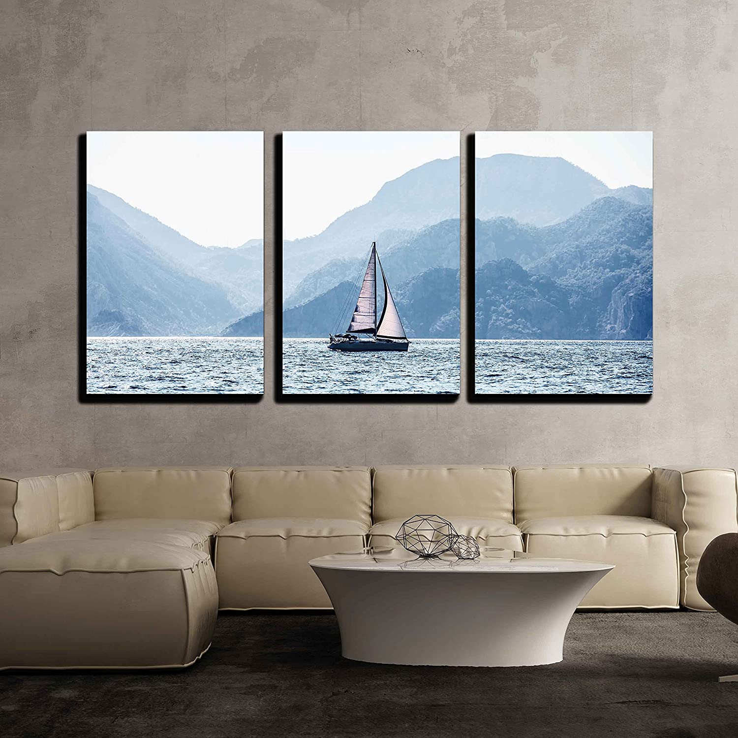 """wall26 - 3 Piece Canvas Wall Art - Beautiful Sea Landscape, Sailboat Sailing on The Distance - Modern Home Decor Stretched and Framed Ready to Hang - 16""""x24""""x3 Panels"""