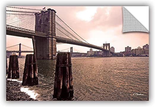 16 by 24 ArtWall Linda Parkers Brooklyn Bridge at Sunset Appeelz Removable Graphic Wall Art