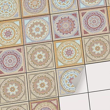Adhésif carrelage mosaique I PVC Autocollant Stickers Carreau Mural - Salle  de Bain et Cuisine I Tuiles adhesives I Design Mosaïque Afrique - 20x20 cm  ...