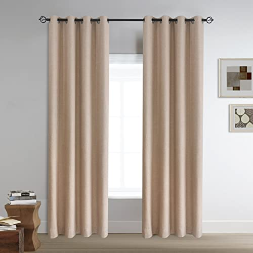 Roslyn Room Darkening Blackout Linen Curtains Beige Drapes with Double Layer for Nursery 50 by 96 Inch Long 2 Panels