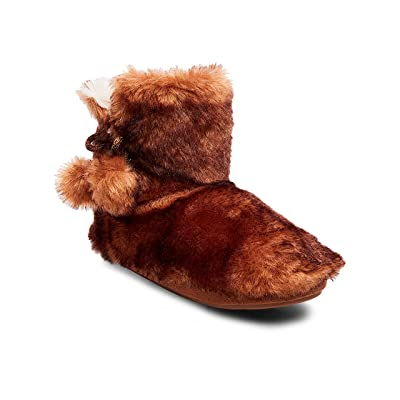 Women's Mad Love Christine Brown Faux Fur Bootie Slippers Small (5-6)