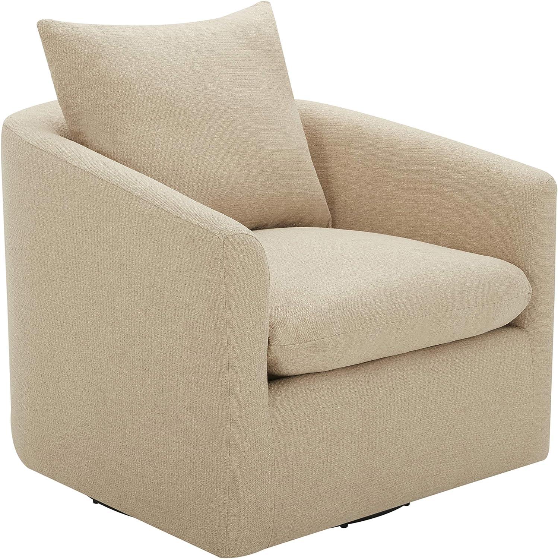 "Amazon Brand – Stone & Beam Elisabet Upholstered Swivel Chair, 33.5""W, Hemp"