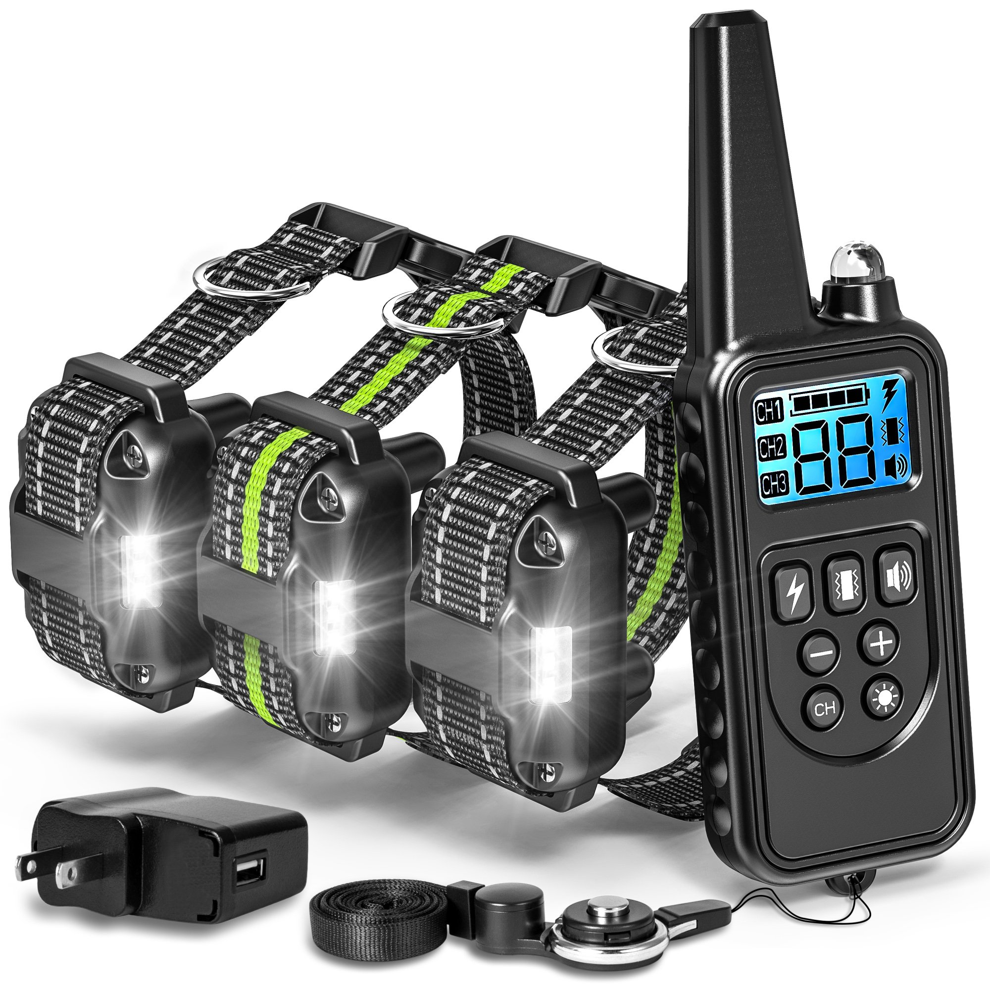 Shock Collar for Dogs with Remote, Range 865 Yards Dog Training Collars for Large Medium Small Dogs Breed 4 Modes Light Beep Vibration Shock, Waterproof and Rechargeable Dog Shock Collar for 3 dogs